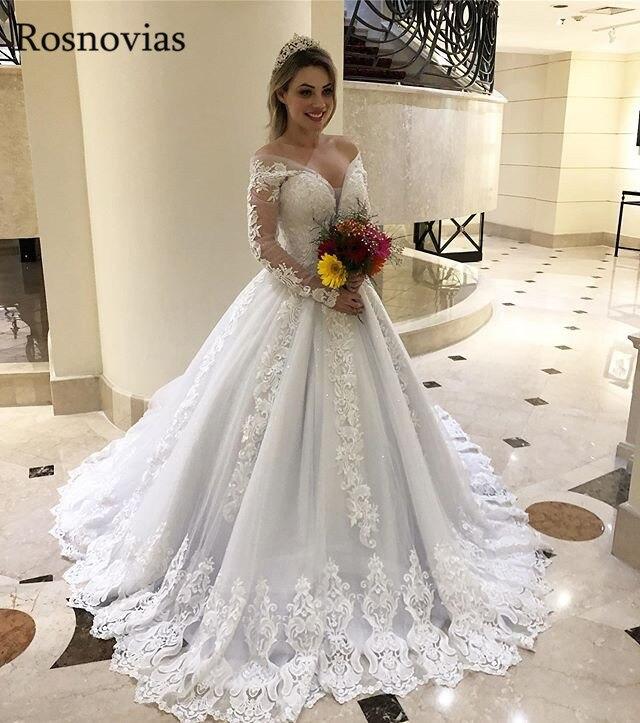 Off Shoulder Ball Gown Princess Wedding Dresses 2020 Long Sleeves Lace Appliques Beaded Long Bridal Gowns Vestido De Noiva