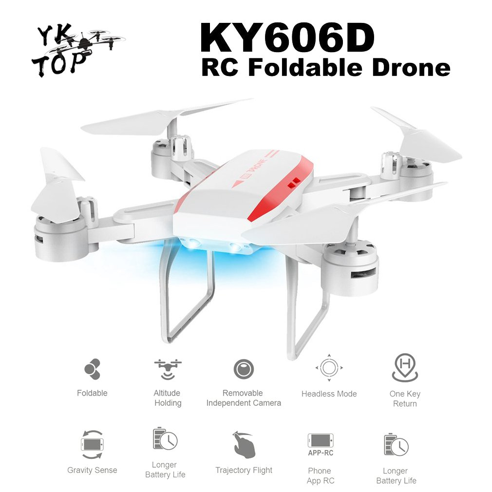 Professional KY606D Foldable RC Drone Long Fly Time RC Drone Headless Mode FPV Helicopter Aircraft with 2 Battery