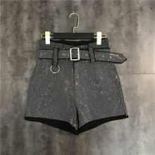 Женские шорты с высокой талией и ремнем кристаллами короткие