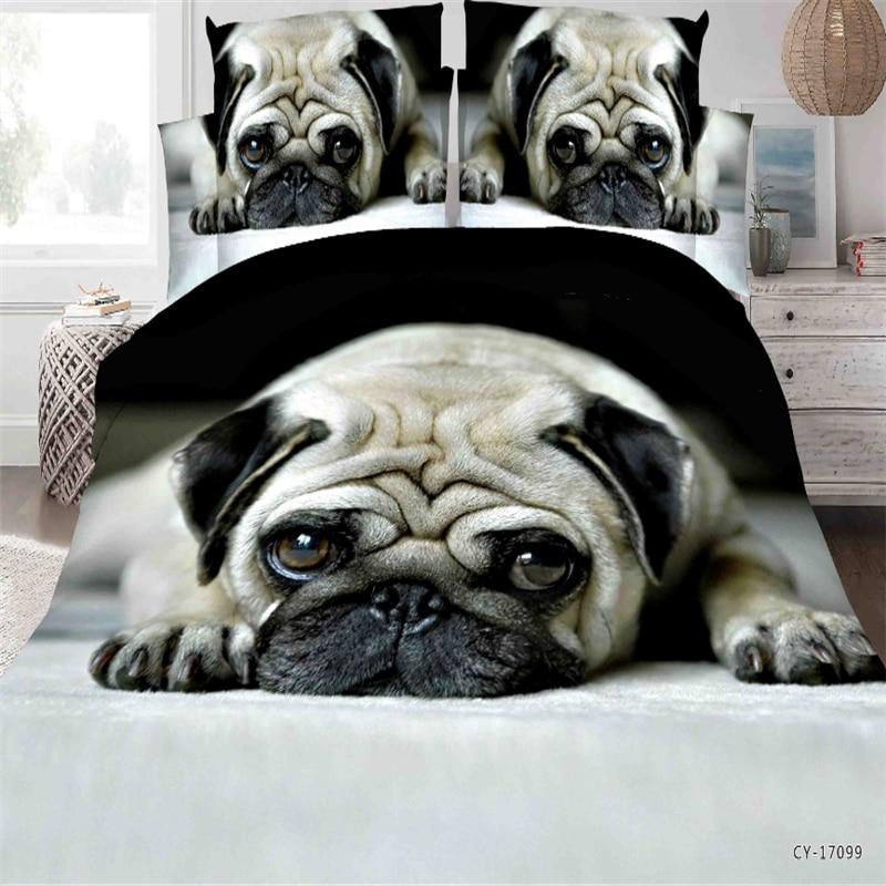 4pcs/set Animals 3D Printed Bedclothes Duvet Cover Bed Flat Sheet Pillow Case Pug Dog Cat King Size Bedding Set For Adults