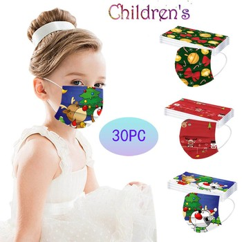 30pcs Cartoon Kids Disposable Mask 3 Layer Child Filter Hygiene Thicken Children's Christmas Printed Face Mouth Mask Earloop