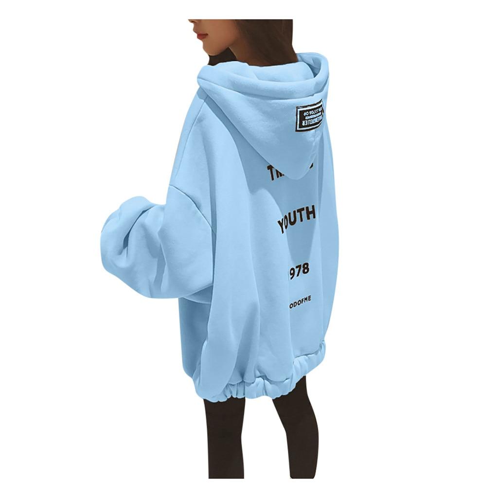Plus Size Hoodie Sweatshirt Womens Winter Long Sleeve Oversized Hoodie Korean Streetwear Letter Print Pullover Dress Hoody Sweat