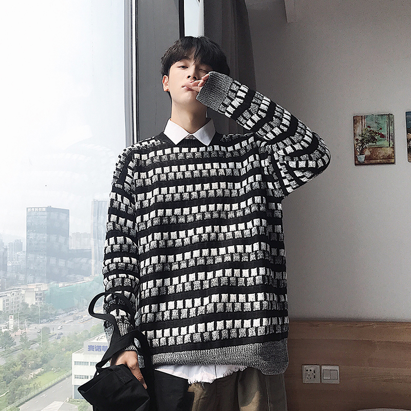 Plaid Sweater Men's Warm Fashion Casual O-neck Knit Pullover Men Loose Retro Knitting Sweaters Male Sweter Clothes M-5XL