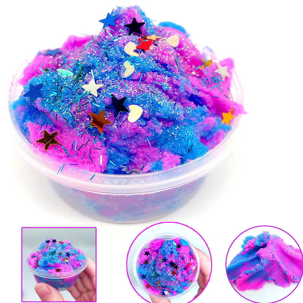 60ML Multicolor Stars Mixing Cloud Slime Puttys Scented Stress Kids Clay Toy Brushed Mud Snowflake Mud L113