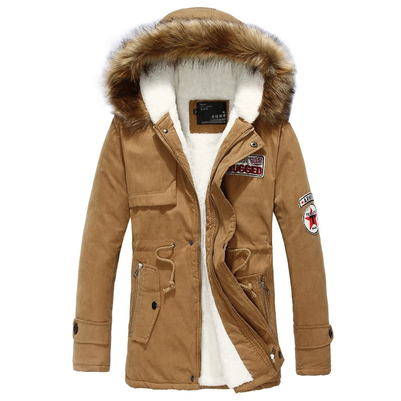 Cotton-Padded Fur-Collar Coa Casual Warm Mid-Length Hooded Couples Large Men title=
