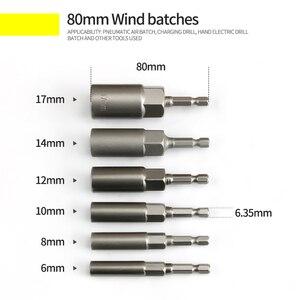Image 2 - 6Pcs 6mm 17mm 80mm אורך נוסף עמוק בורג אגוז קצת סט מטרי 1/4 6.35mm השפעת שוק Hex Socket מתאם עבור כלי חשמל