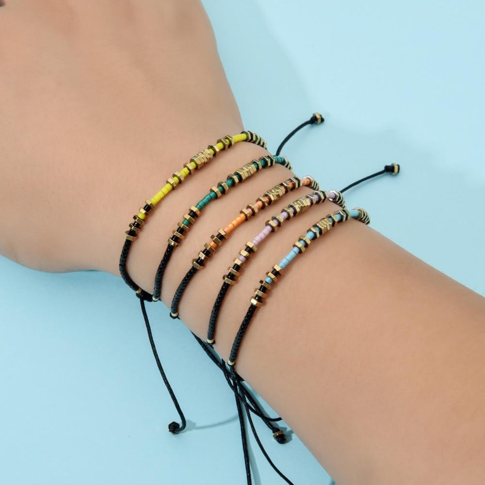 Elegant bead charm bracelet gift friendship boho adjustable