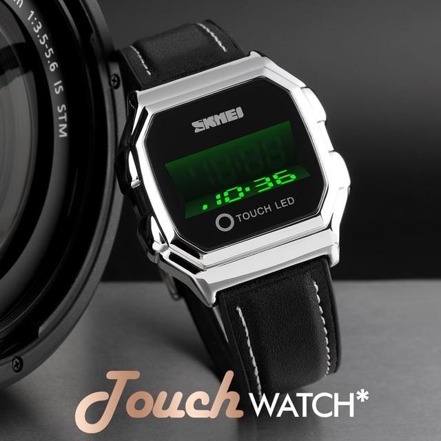 Skmei touch led digital relógios de ouro dos homens data tempo criativo relógios de pulso moda à prova dwaterproof água relógio esporte reloj hombre 5