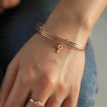 Neue Mode Triple Layered Bangle für Frauen Männer 585 Rose Gold Glocken Key Charme Anhänger Armband Schmuck Geschenk CB57