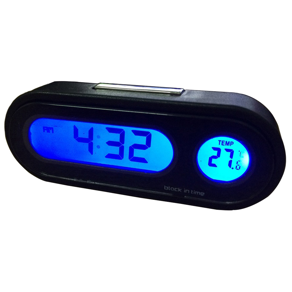 Blue LED Backlight Digital Electronic Clock Thermometer For Car Auto Dashboard 2-in-1 Electronic Clock Thermometer Accessories