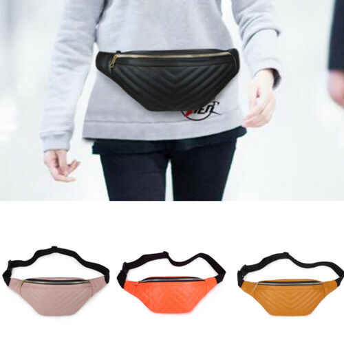 NEW Black Leather Fanny Pack Waist Belt Bag -Womens Purse Hip Pouch Travel Bag