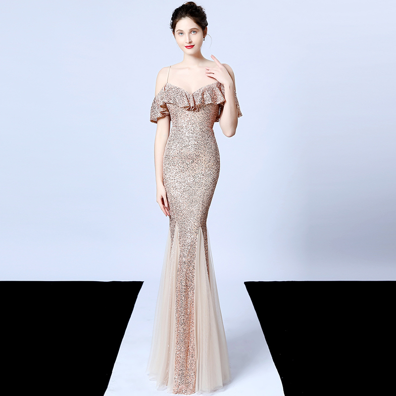 Noble Women Sequined Evening Dress Ruffles Off The Shoulder Mesh Mermaid Party Sexy Ladies Spaghetti Strap Vestidos De Gala