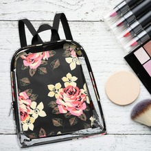 Fashion Clear Transparent Women Backpack Flower Print Bags for School Schoolbags for Teenage Girls Transparent Bag
