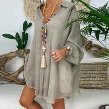 цены на WENYUJH Plus Linen Shirt Women White Button Down Shirt for Women Long Sleeve Loose Casual Cotton Blouse Tops Woman Clothes в интернет-магазинах
