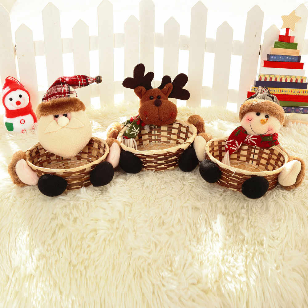 Christmas Candy Bamboo Storage Basket Santa Claus Deer Snowmen Decoration Gift Organizer Basket Xmas Party Child Suger Case