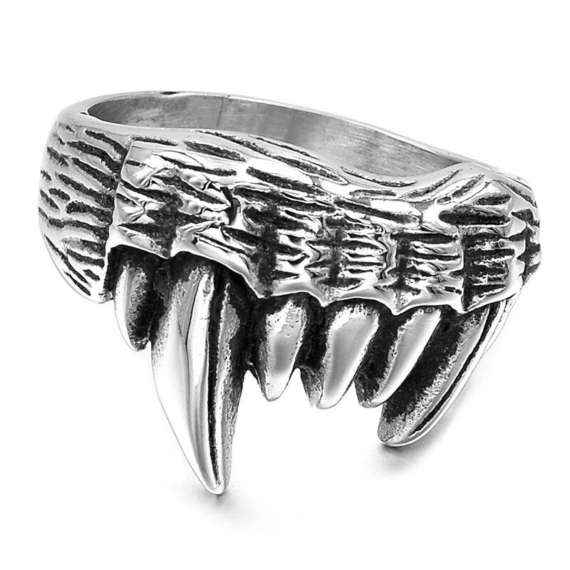 GOKADIMA Cool Tribe Orcs Wolf zubní prsteny pro muže Nerezová ocel Motorkářský styl 2017 Šperky kapka Doprava WR298