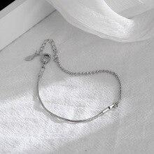 Handmade Silver Color Round Bead Snake Bones Chain Bracelet 925 Transfer Bead Bracelet  For Gilr Women Fashion Jewelry stylish square fake turquoise bead bracelet for women