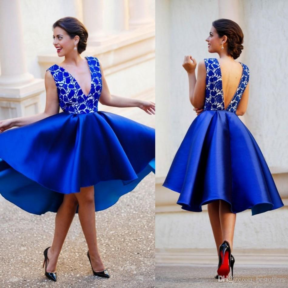 Pescoço sem Costas Vestidos de Baile Vestidos de Festa Novo Azul Real Mergulhando Curto Renda Cetim Sexy Coquetel Olá lo Árabe v