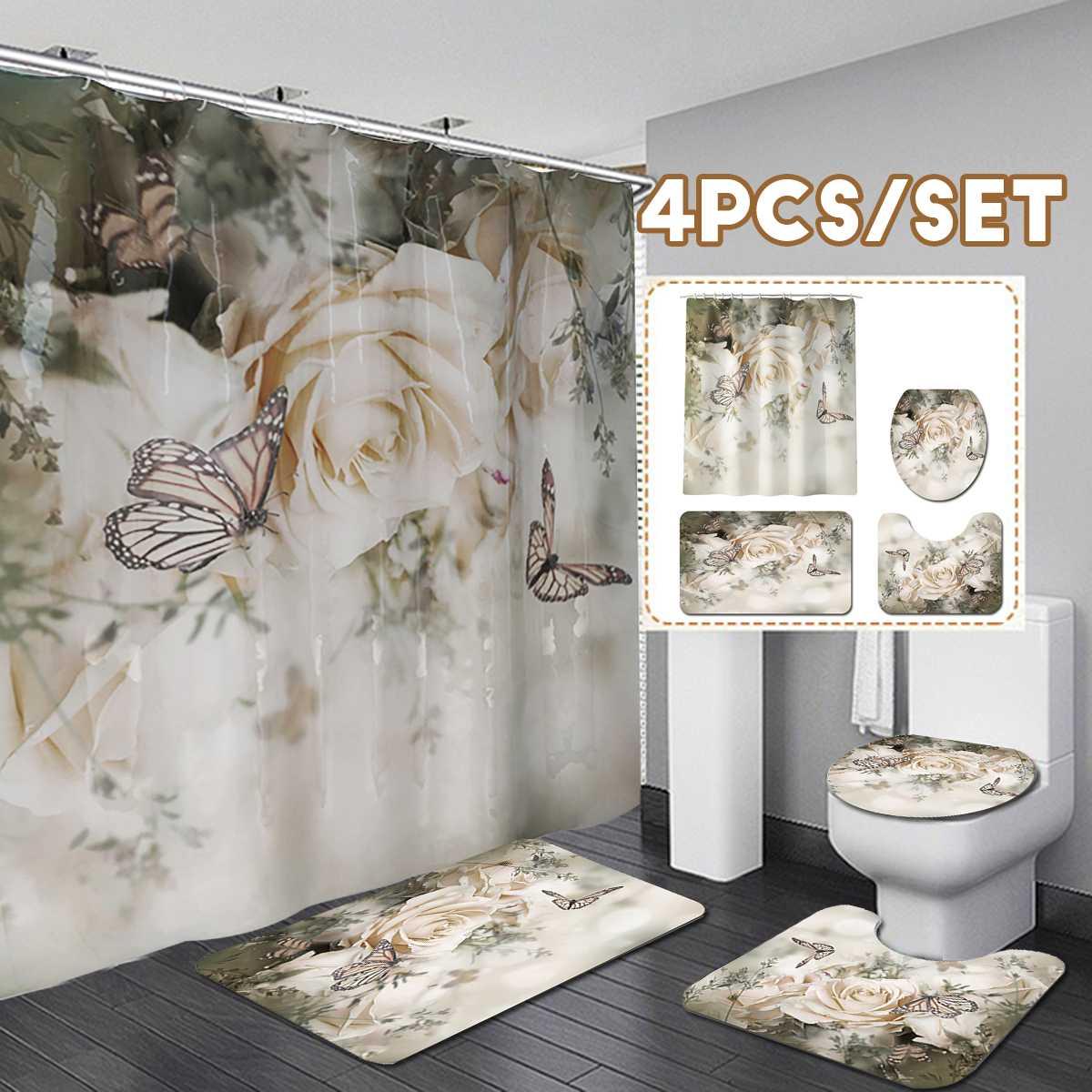 Cortinas de ducha rosas con flores y mariposas, impermeables, para baño, antideslizantes, para decoración de bañera