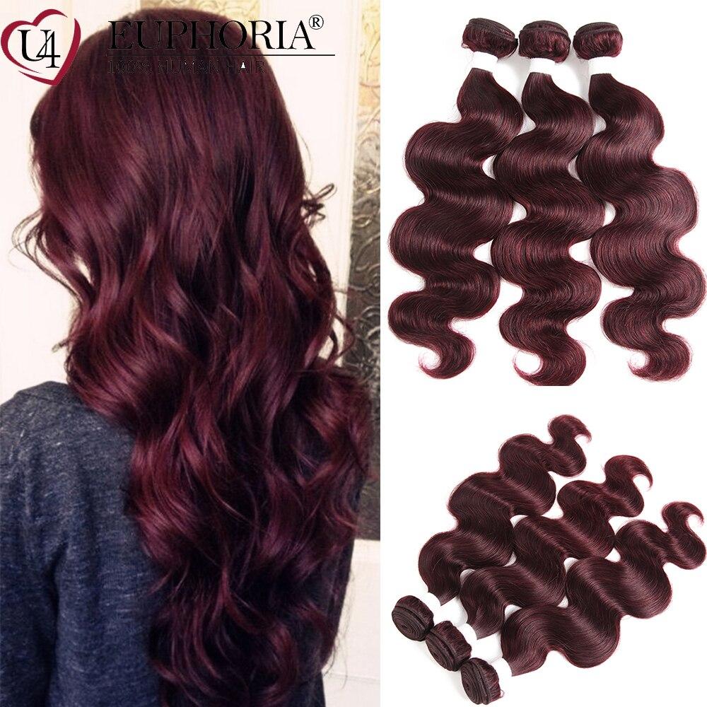 Body Wave 3/4 Bundles Human Hair 99J Burgundy Blonde Brown Ombre Color Brazilian Remy 3 Bundles Hair Weaving Extensions Euphoria