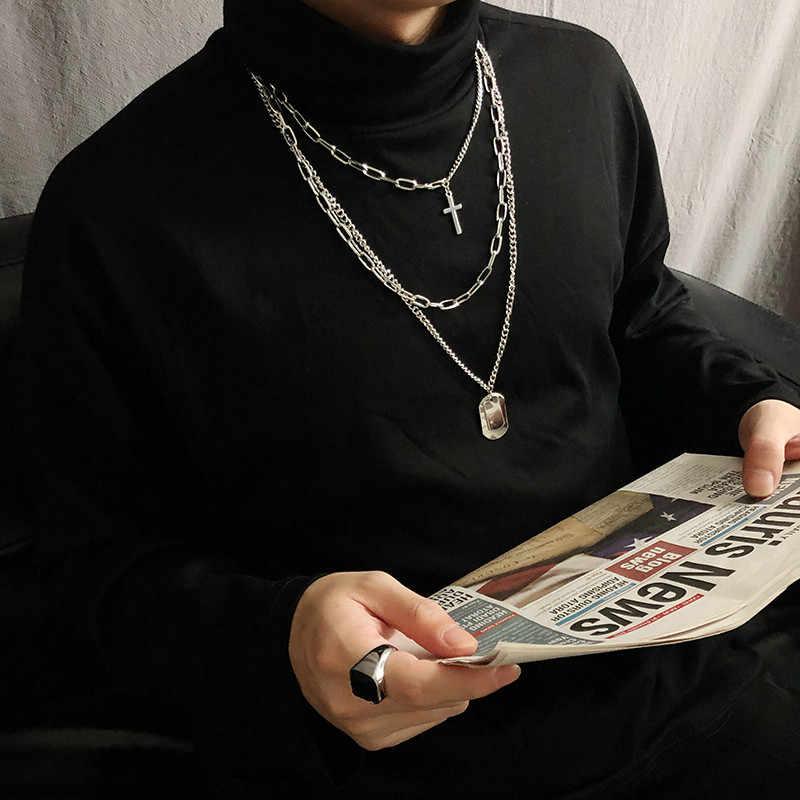 ELSEMODE Tag Cruz Multilayer Do Punk Quadrado Hip hop подвеска gargantilha de Aço Inoxidável Colar de Pingente de Cadeia Longa Para As Mulheres Homens Presente