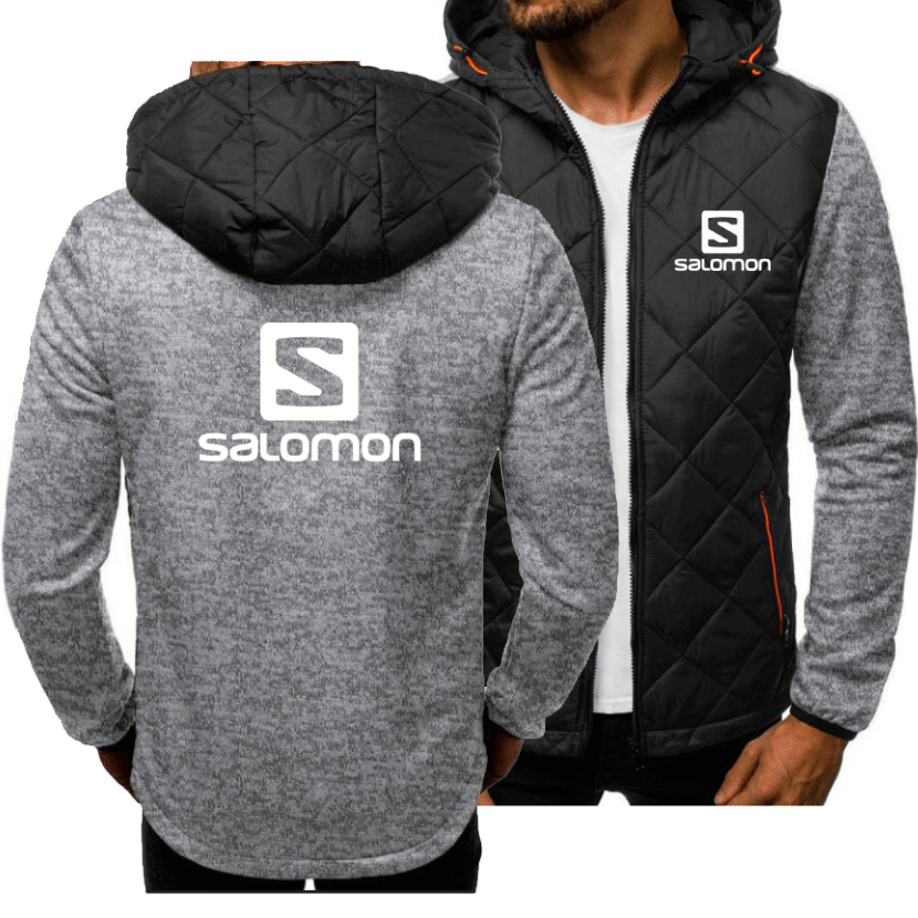 Autumn Winter Fashion Hoodies Men Sweatshirts Salomon Printed Spliced Long Sleeve Casual Coat Jacket Cardigan Plus Velvet Hoody