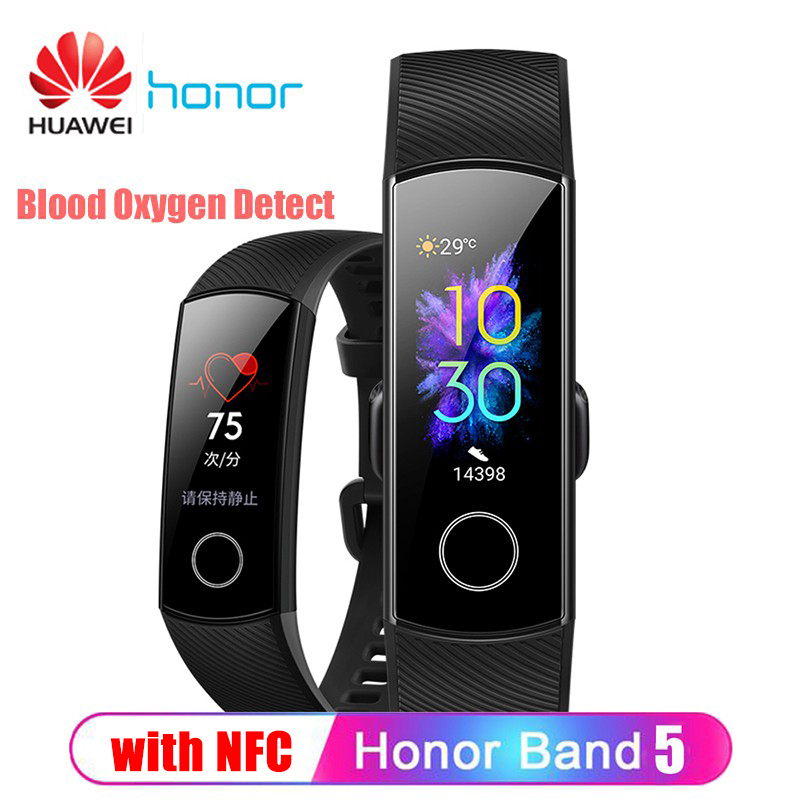 Original Huawei Honor Band 5 NFC Smart Wristband Oximeter Blood Oxygen Touch Color Screen Swim Posture Detect 50M Waterproof image