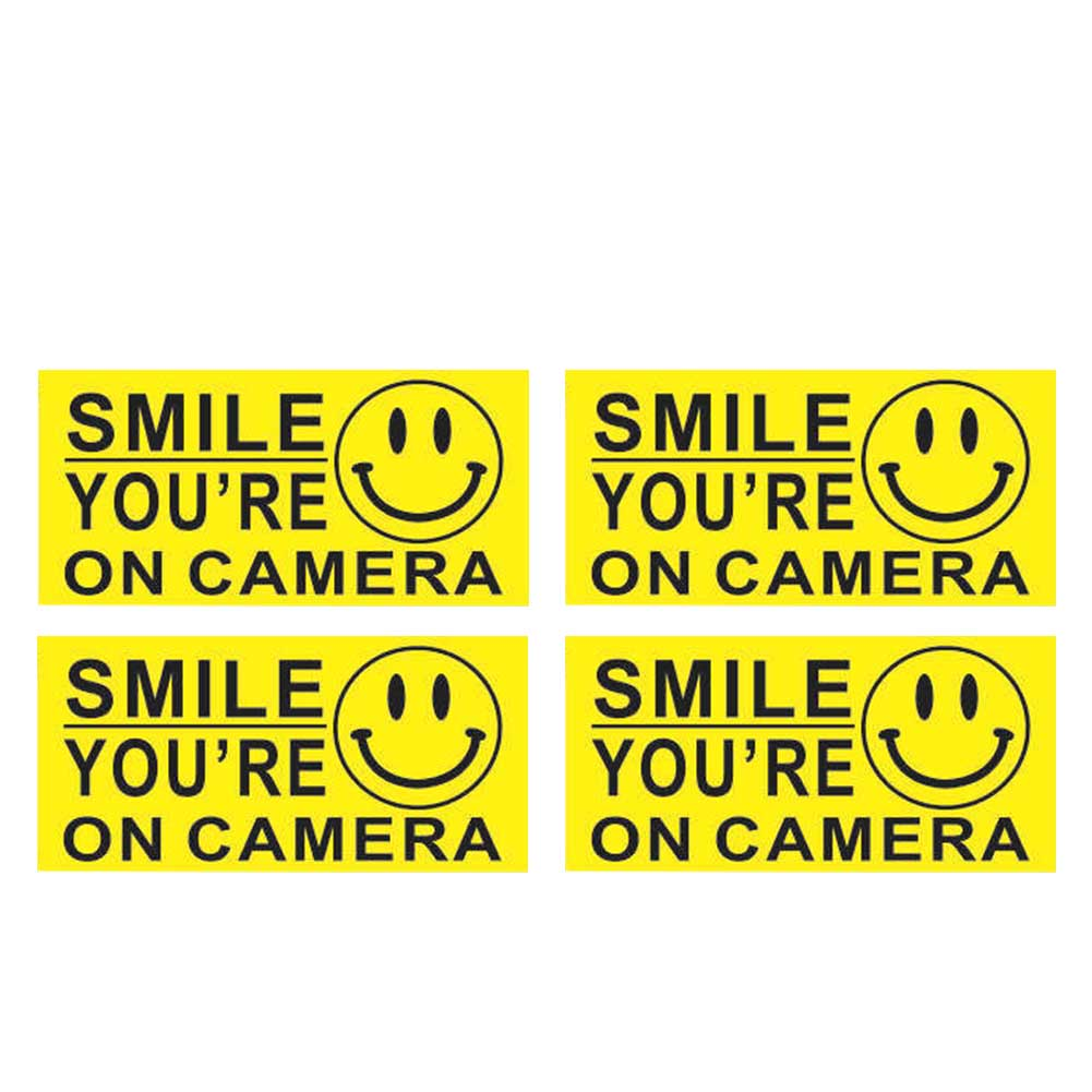 4Pcs Smile Face Waterproof PVC You Are On Camera CCTV Warning Sticker Security Sign Business Decal Self Adhesive Car Accessories Pakistan