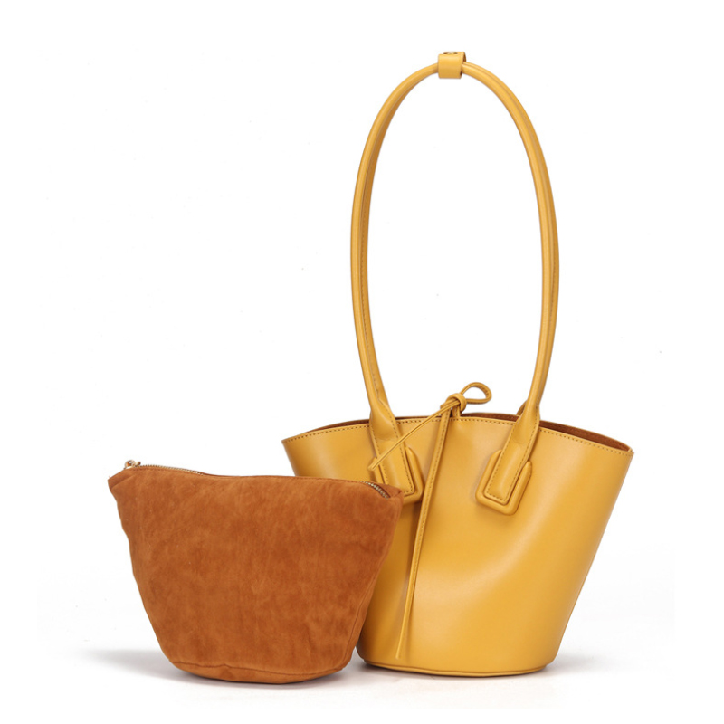 MAHEU Latest fashion woman handbags designers brand luxury 2019 genuine leather bucket bag ladyparty handbag 2 pcs combine bag