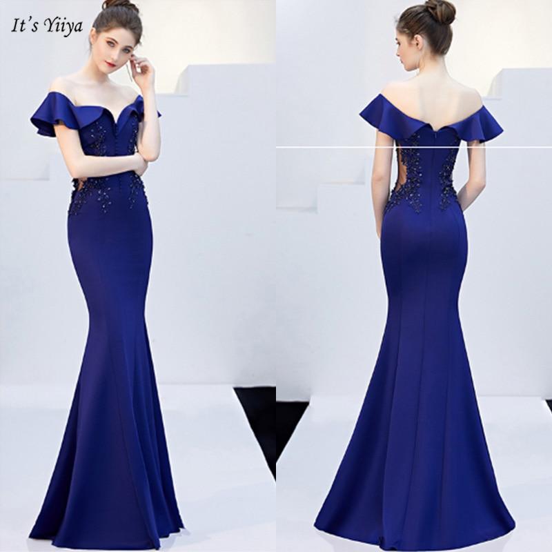 It's Yiiya Evening Dress Elegant Boat Neck Short Sleeve Women Party Dresses Ruffles Mermaid Floor-Length Robe De Soiree V126