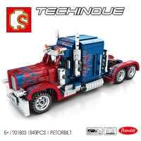 Sembo Peterbilt 389 ciężarówki klocki kompatybilne lepining Technic Prime cegły zabawki edukacyjne dla dzieci