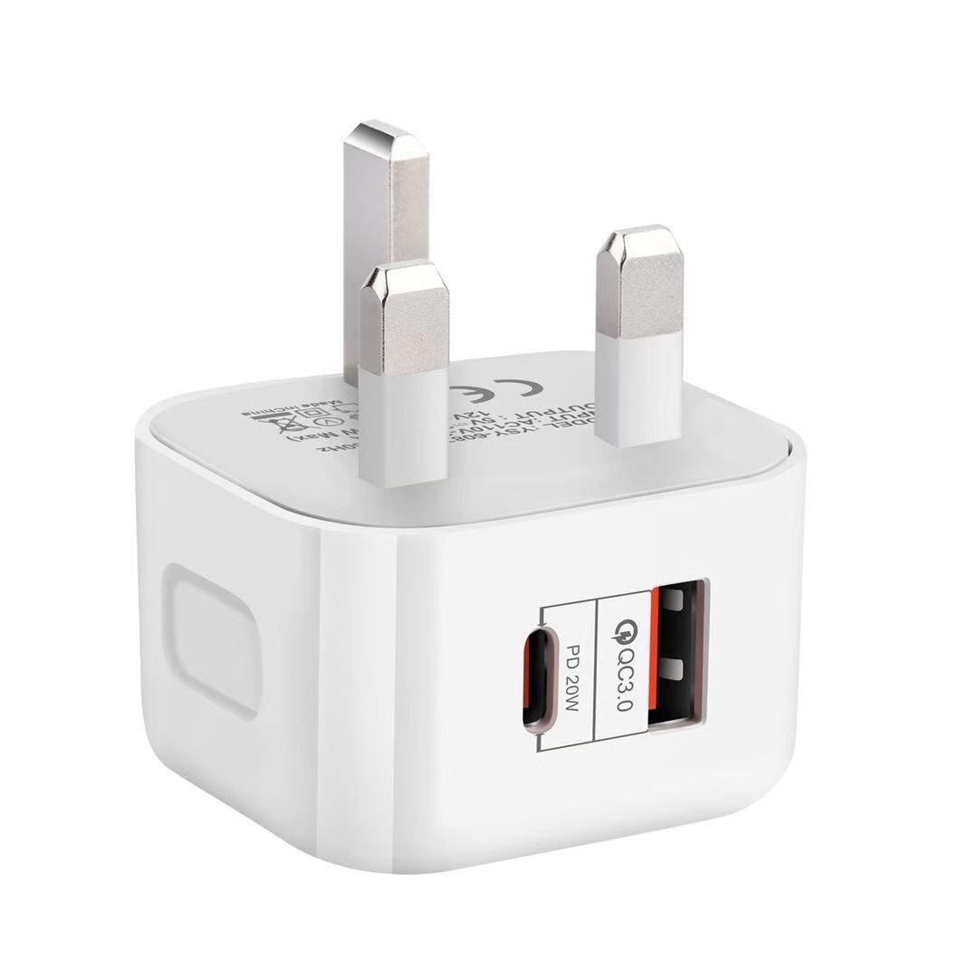 Europäische version PD ladegerät 20 w quick charge kopf Typ-c + USB doppel präsentiert für apple füllen die gauge ul Europäischen regeln