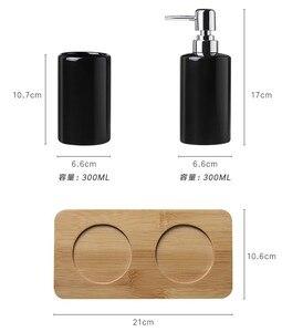 Image 5 - 320ml Ceramic Emulsion Dispenser White Black Bottle Hotel Shower Gel Hand Sanitizer Bottle with Bamboo Tray for Kitchen