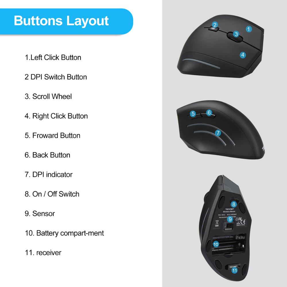 Image 3 - TeckNet Vertical Wireless Mouse 2.4GHz Nano Ergonomic Optical Mouse 3 Adjustable Levels 2000/1200/800DPI Mouse For PC Computer-in Mice from Computer & Office