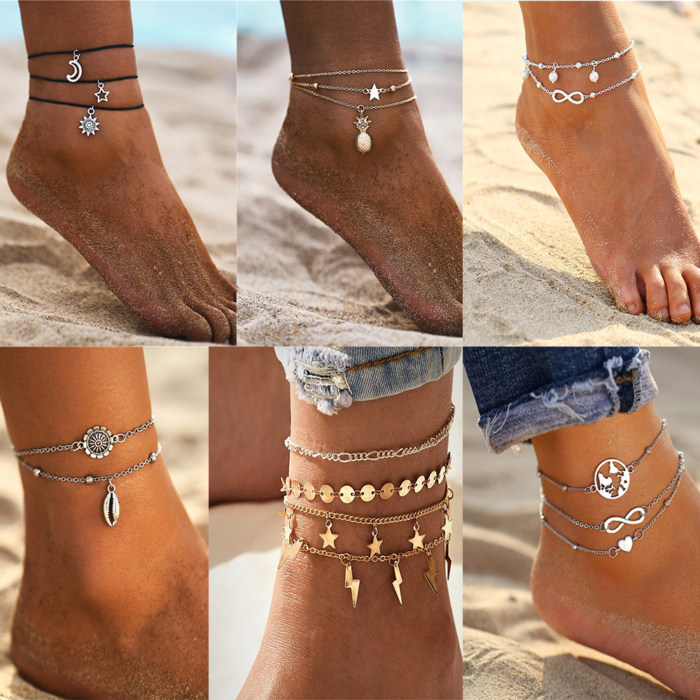 MAA-OE New 2020 Summer Beach Elephant Stars Moon Sun Earth Heart shaped Eye Anklet Bohemian Handmade Beaded Anklet Jewelry Gift