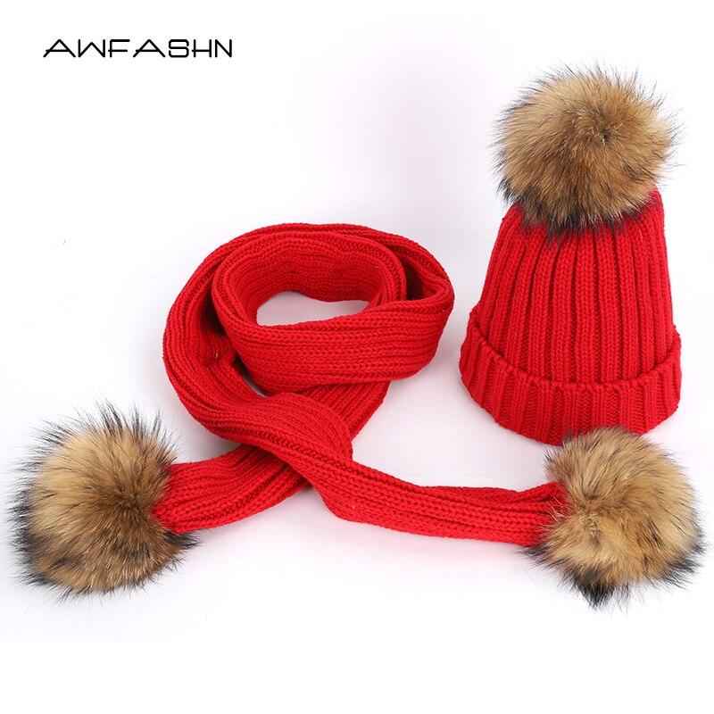 2019 Fashion Ladies Raccoon Fur Pompom Knit Beanies Hat Scarf Sets Cotton Soft Cap Scarves Winter Warm Women Bonnet Ski Outdoor