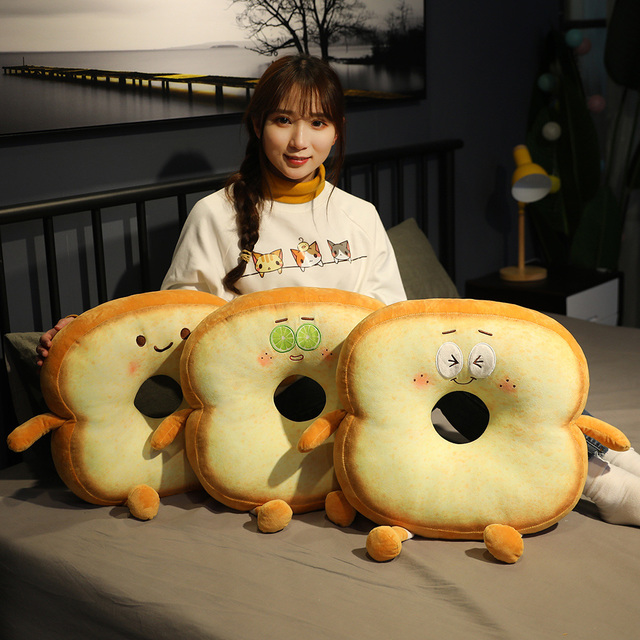 Cartoon animated funny expression pack plush toy toast sliced bread pillow cushion doll software home seat cushion back office n