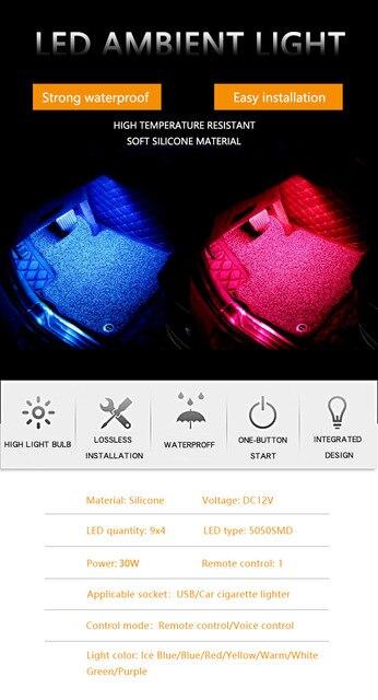4 шт автомобильные светодиодсветодиодный rgb ленсветильник для фотография