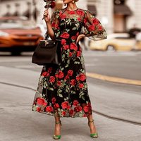 2 Pieces Lace Mesh Long Dress Women Floral Embroidery Sexy Transparent Black Maxi Party Dresses Elegant Boho Fall Summer 2019