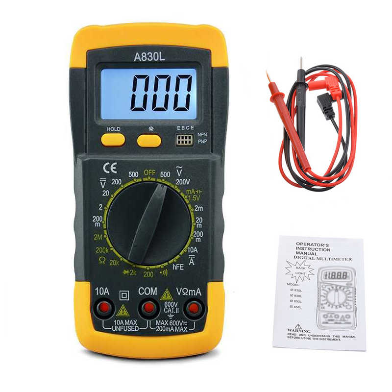 1Pcs A830L LCD Multimetro Digitale AC DC Tensione Diodo Freguency Multitester Tester di Corrente Display Luminoso con Buzzer Funzione