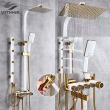 יוקרה לבן זהב מקלחת ברז סט 5 פונקצית מתג קיר הר גשם מקלחת ראש עם יד מקלחת אמבטיה זרבובית בידה ברז מיקסר