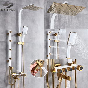 Image 1 - Luxury White Gold Shower Faucet Set 5 Function Switch Wall Mount Rain Shower Head With Hand Shower Bathtub Spout Bidet Tap Mixer