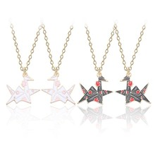 New Fashion Printed Paper Crane Necklace for women Black and White Thousand Animal Pendant Jewelry Gift