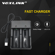 VOXLINK cargador de batería inteligente, 2 ranuras, carga USB 18650, 26650, 21700, 14500, 26500, 22650, cargador de batería recargable