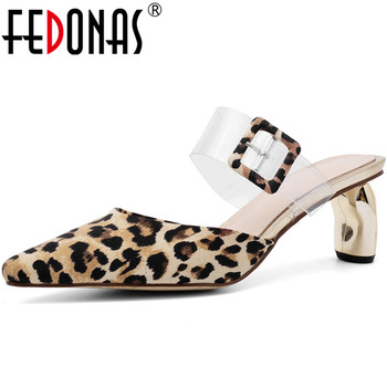 FEDONAS New 2020 Sexy Fashion Leopard Print Women Cow Leather Sandals Slipper Strange Heeled Shoes Spring Summer Shoes Woman