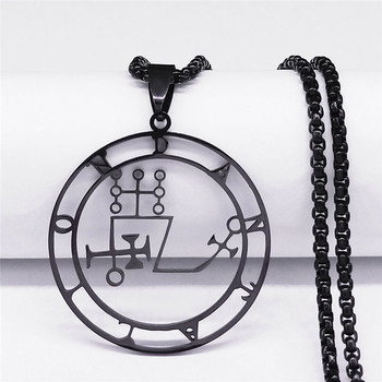 Sigil Stainless Steel Necklace Black Color Goetia Seal of Solomon Demon Satan Sigil Satanic Necklaces Pendants Jewelry N304103 image