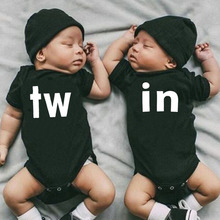 TW & IN Letter Print Newborn Infant Baby Boys Girls Black Bodysuit Twins Romper Jumpsuit Outfits Hipster Baby Clothes 0-24M
