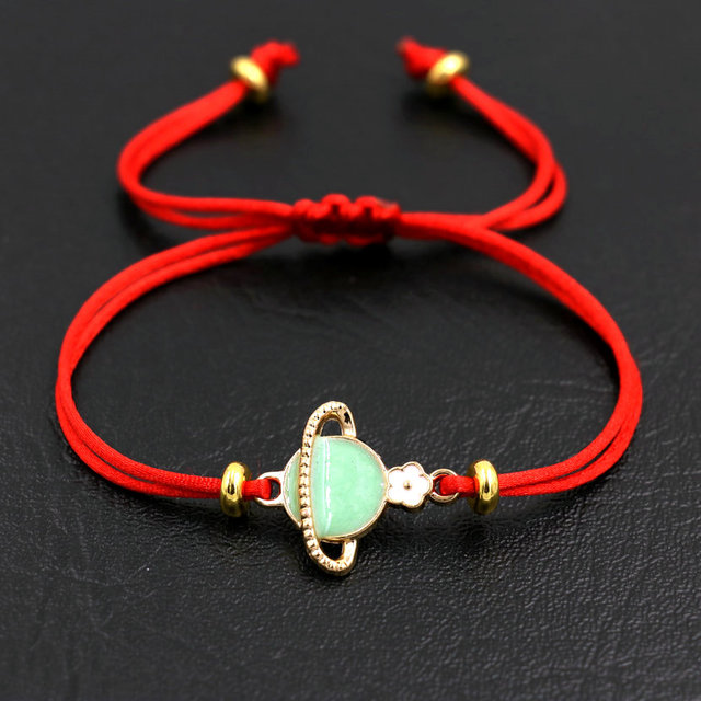 Lucky Dripping oil Saturn Couples Bracelet Thin Red Rope Thread Bracelets For Women Chakra Bracelet Jewelry Pulseira Love Gift