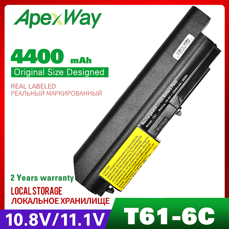 Apexway Laptop Battery For Lenovo ThinkPad R61 T61 R400 T400 ASM 42T5265 FRU 42T4530 42T4532 42T4548 42T4645 42T5262 42T5264