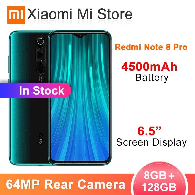 Xiaomi Original Redmi Note 8 Pro 8GB RAM 128GB ROM 64 MP Quad Cameras MTK Helio G90T Smartphone 4500mAh 18W QC 3.0 UFS 2.1 NFC